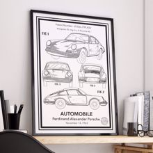 Porsche 911 Carrera Patent Posteri - Çerçeveli Klasik